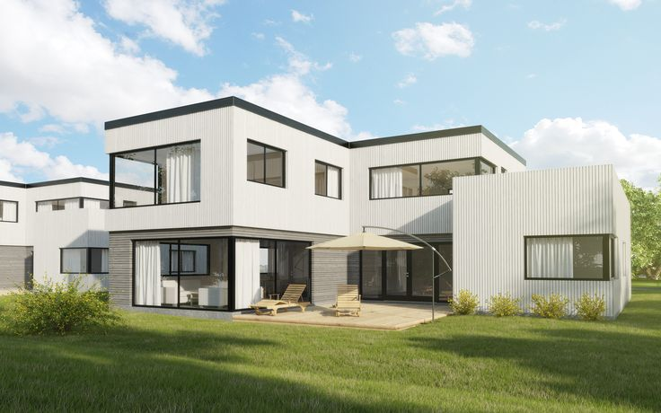 Kataloghus U- 560 funkisinspirert bolig over to plan med et lite atrium!