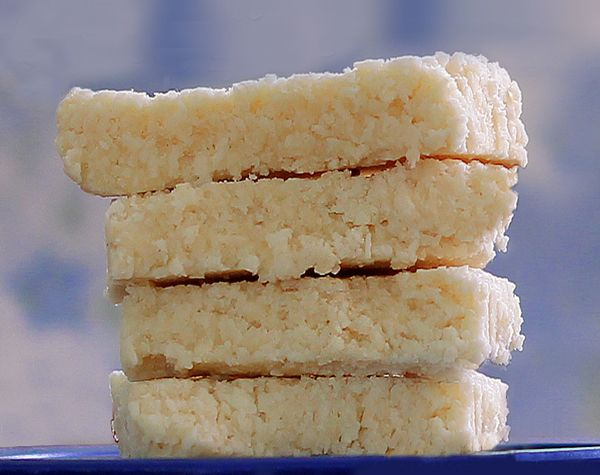 Chewy Coconut Bars: no butter, no sugar, no baking required!