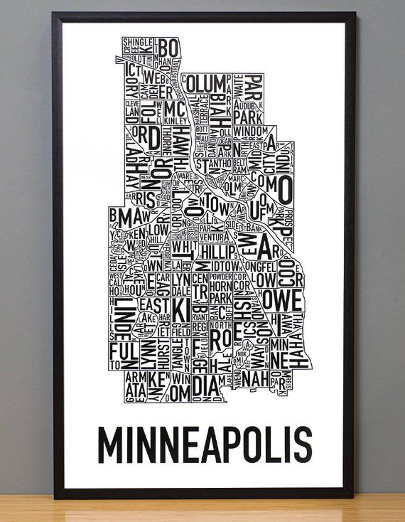 Minneapolis Neighborhood Map Ork Posters on Etsy