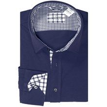 Van Laack Peton Check Knit Shirt - Long Sleeve (For Men) in Navy Blue - found on sierratradingpost.com