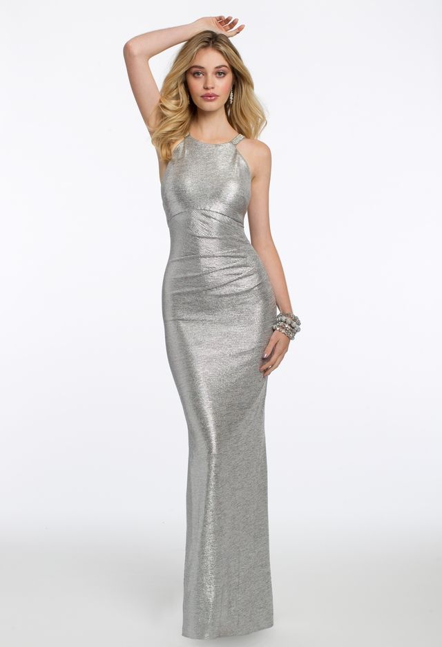 9ba6105a33f Find your red carpet look right here  this amazing evening gown features a  classic jewel neckline