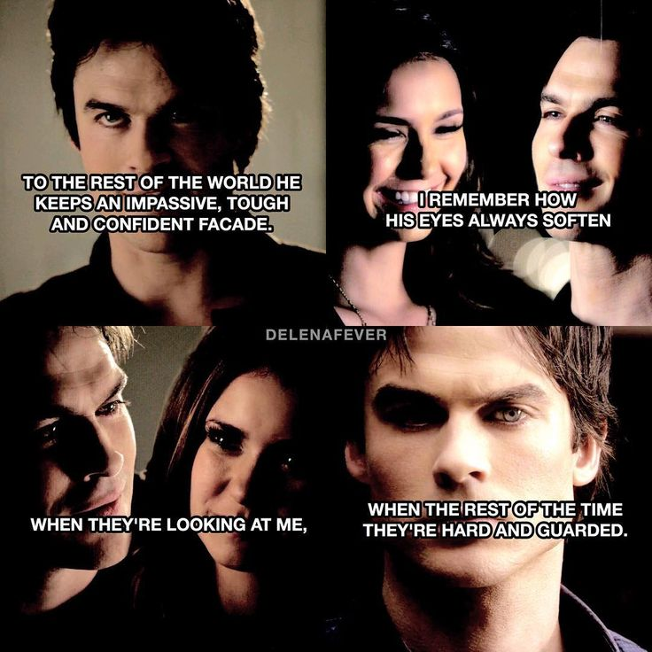 Delena//Stay With Me quote This kinda reminded me of Damon & the way he is. He can be so mean, cruel, and aggressive to people. But with Elena he's kind, compassionate, sweet, caring and loving