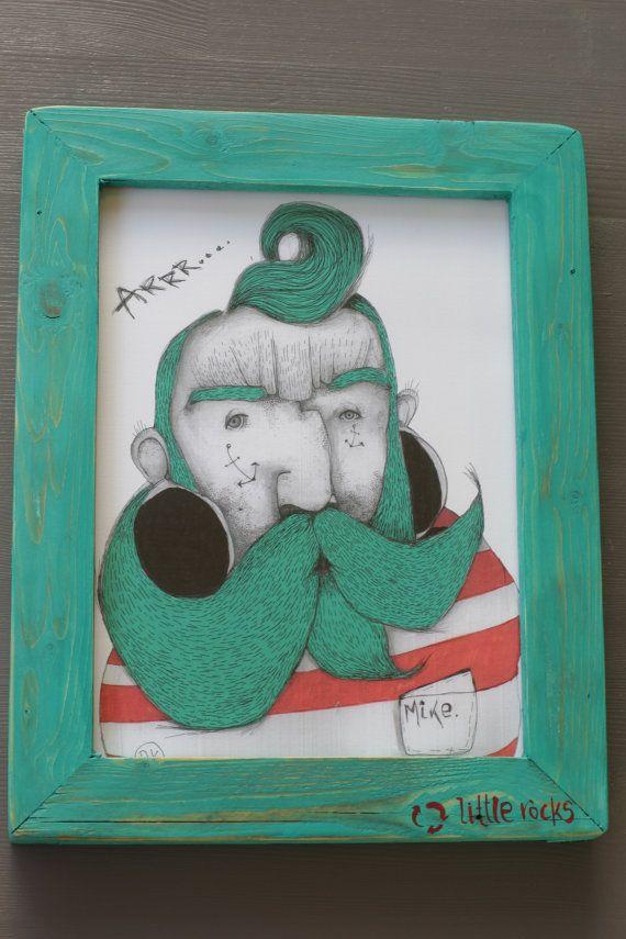 Mike the sailor illustration framed print wooden by littlerocksPK