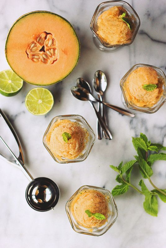 Gluten-free and Vegan Cantaloupe Mint Sorbet