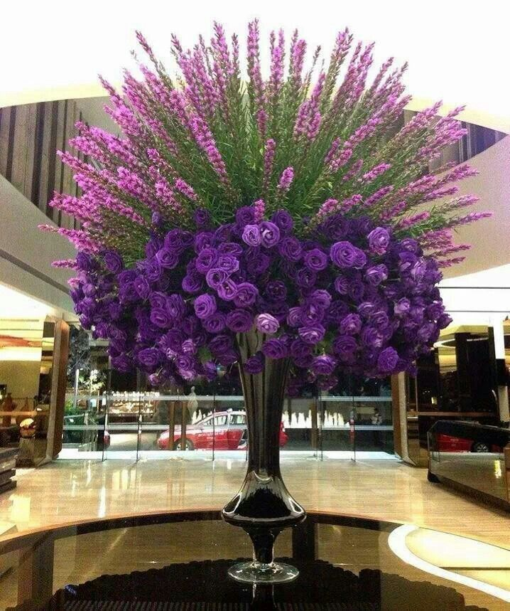 Beautiful Purple Centerpiece For The Hotel Lobby