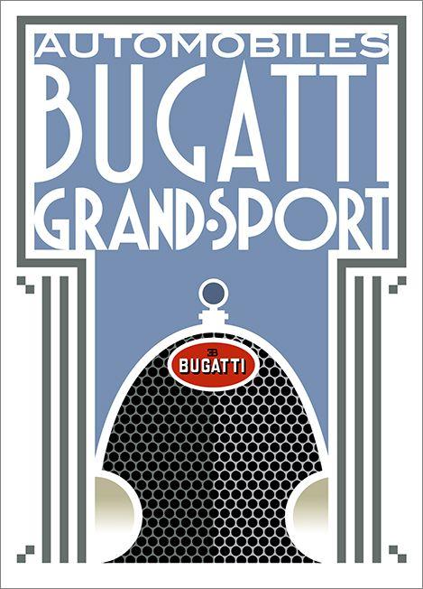 Art Deco Bugatti Grand Sport poster by Bill Philpot at newvintageposters.com
