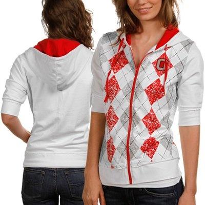 Ohio State Buckeyes Ladies White Argyle Short Sleeve Full Zip Hoodie Jacket