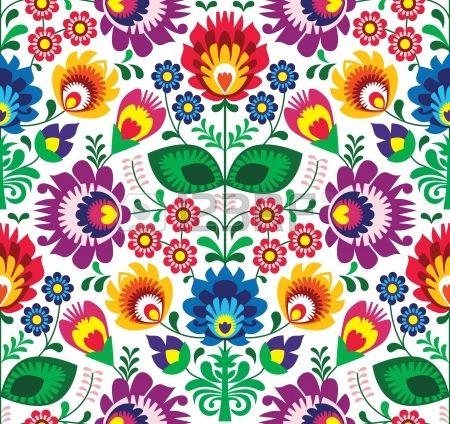 Seamless floral traditionnel polonais - ethnique photo