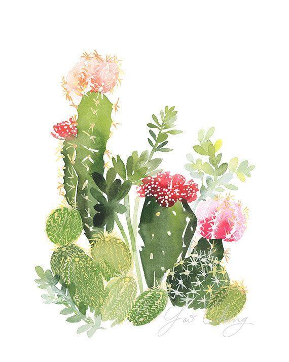 Cactus no. 4 acuarela lámina de arte por YaoChengDesign en Etsy