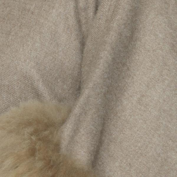 Anastasia alpaca fur buttoned cape mocha detail