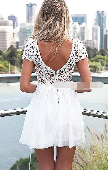 White Back Hollow-out Lace Splicing Chiffon Dress