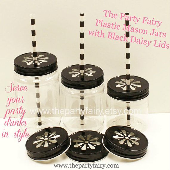 Plastic Mason Jar 6 Plastic Jars with Lids and by ThePartyFairy