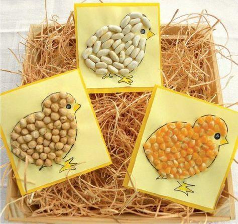 des poussins réalisés avec des graines (mais, haricots secs ...), à faire avec les enfants :-)