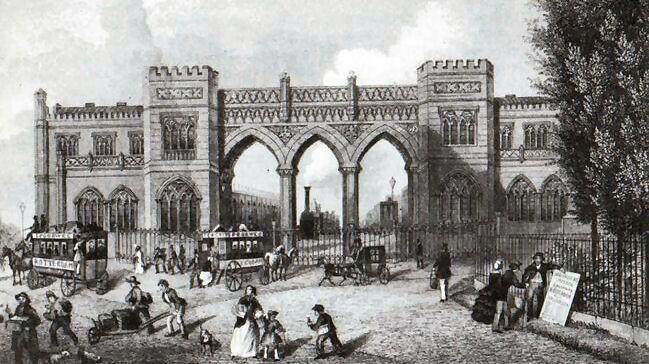 Het eerste Station Delftse Poort in Rotterdam (1858), werd in 1847 gebouwd en in 1878 afgebroken.