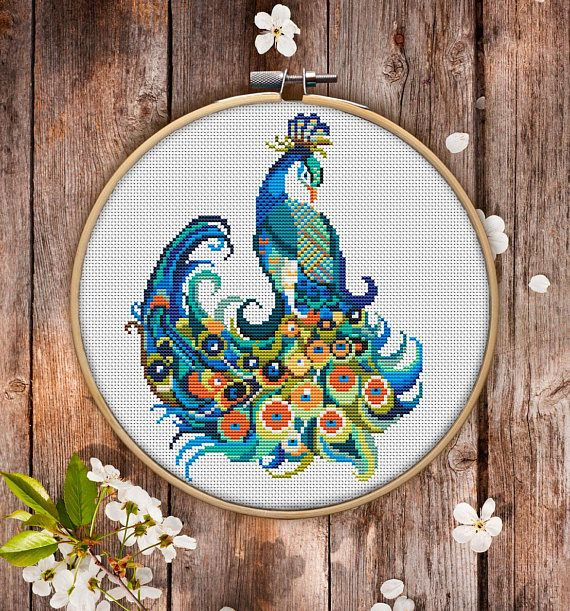 Cross Stitch Pattern Mandala Peacock for Instant Download