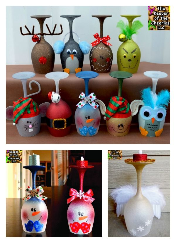 DIY Christmas Wine Glasses Candle Holders