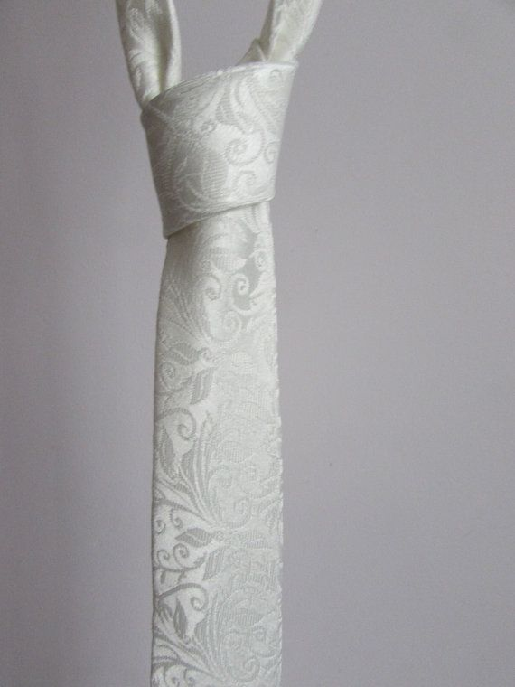 Ivory Brocade Slim Tie. Perfect for by BiscuitCoutureOnline