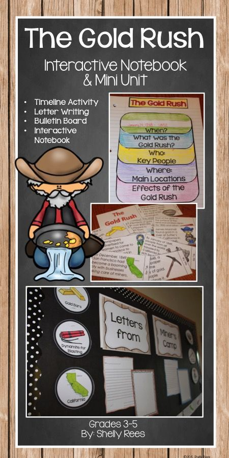 Gold Rush Interactive Notebook and Mini Unit. How FUN! My students will love these hands-on activities!