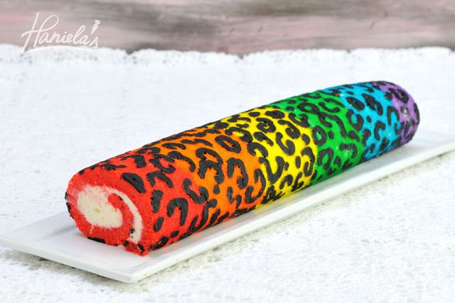 Rainbow Leopard Cake Roll with Marshmallow Cream C...