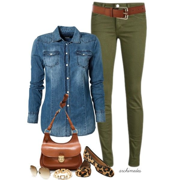 Business casual work outfit: chambray top, olive skinnies. I'd wear with brown boots or nude heels.