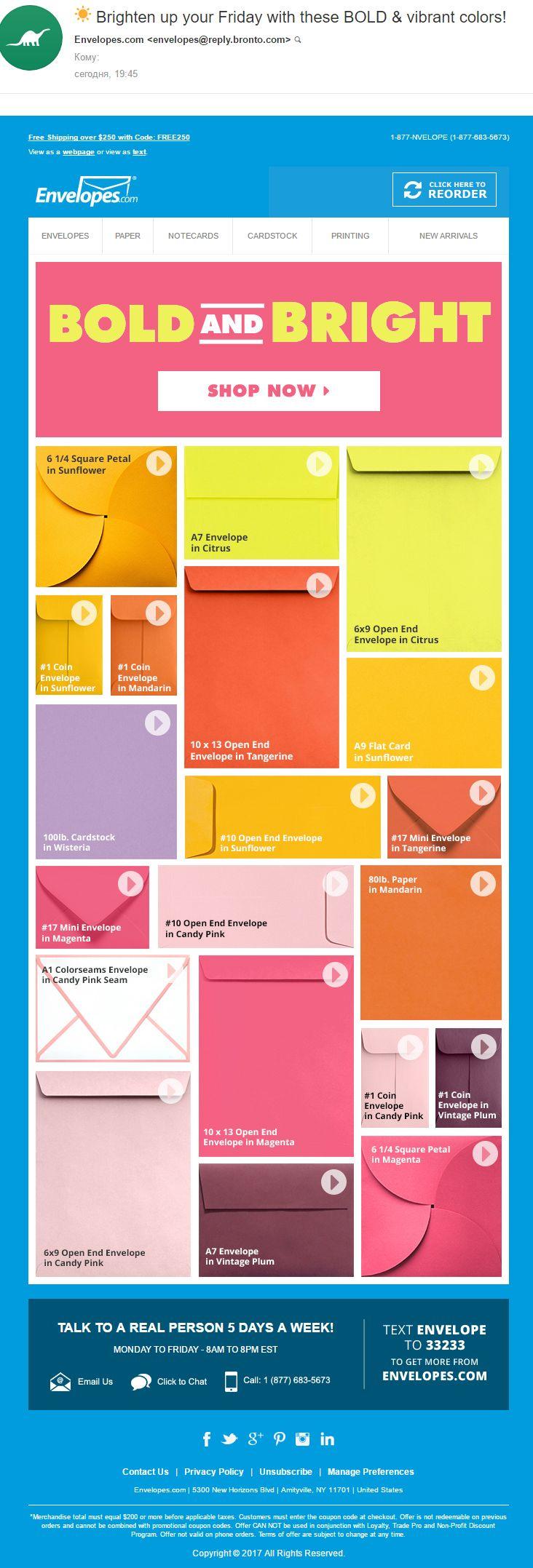 Envelopes.com (23.06.2017): All sizes of envelopes in one email simplify execution of the order. // Все размеры конвертов в одном письме упрощают оформление заказа. #EMAILMATRIX #emailmarketing #loyalty