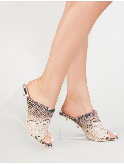 00b81907dfe Maliboo Perspex Mule with Wedge Heel in Snake Print in 2019