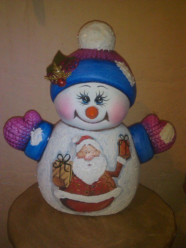 86 mejores im genes sobre ceramica en pinterest for Figuras de nieve navidenas