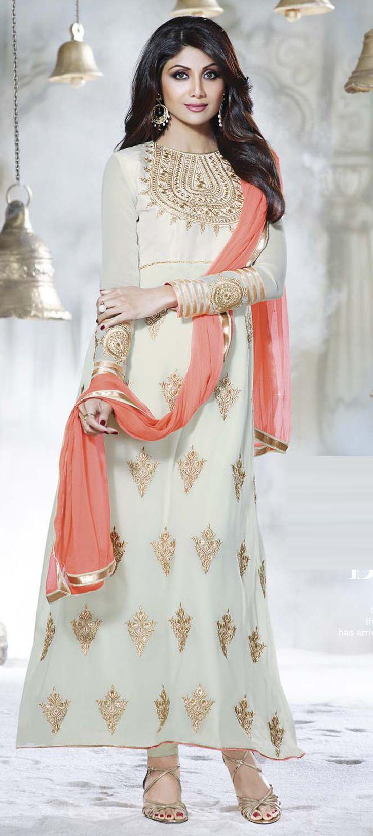 Steal #ShilpaShetty's style - Order now at flat 15% off + free shipping worldwide.  #SalwarKameez #BollywoodStyle #bollywood #celebritycloset #indianfashion #indianwedding #onlineshopping #Partywear