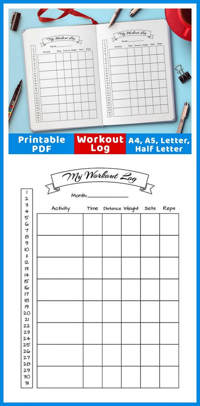 A handy bullet journal workout log / exercise tracker. Use this bujo printable for an easy way to help track your workouts! | printable planner inserts, #exercise #exercisefitness #bulletjournaling #bujo