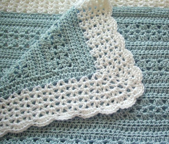 Crochet Baby Blanket Blue with White Border by GoStitch on Etsy