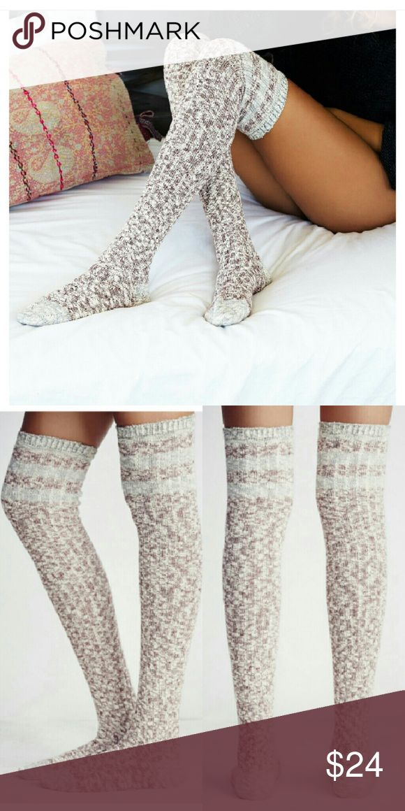 New FP Round Robin Over the Knee Sock Textured heathered over-the-knee socks, the perfect pair for tall boots and mini hems. Color: Pomegranate 68% cotton, 31%polyester,  1% spandex New in package! Free People Accessories Hosiery & Socks