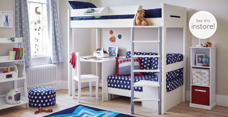 A high sleeper bed is a great idea for older kids; the accumulation of friends and increased academic demands make a spare bed and a desk absolutely essential.