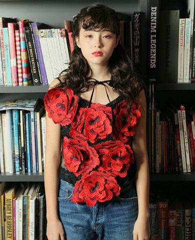AHCAHCUM -  レース花刺繍モチーフブラウス  - 165064016-AHCAHCUM