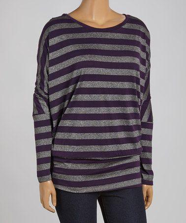 Look what I found on #zulily! Purple & Gray Stripe Dolman Top - Plus #zulilyfinds
