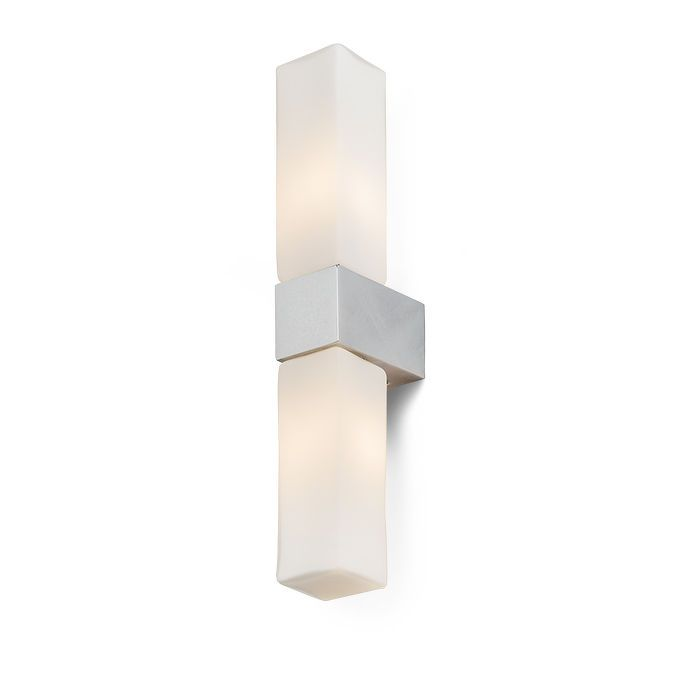 MERIT II | rendl light studio |  Angular bathroom light with a shade of opal-colored glass and a base in chrome. #lighting #design #bathroom #wall