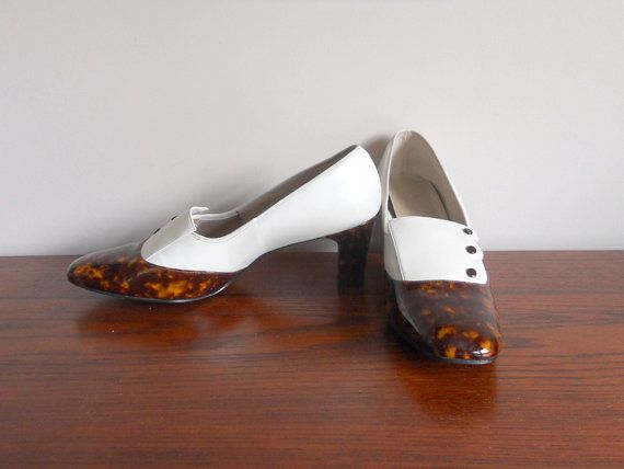 Vintage Shoes White Pumps Brown Patent Leather Shoes Lifestride Heels Women's 8.5 High Heel NOS