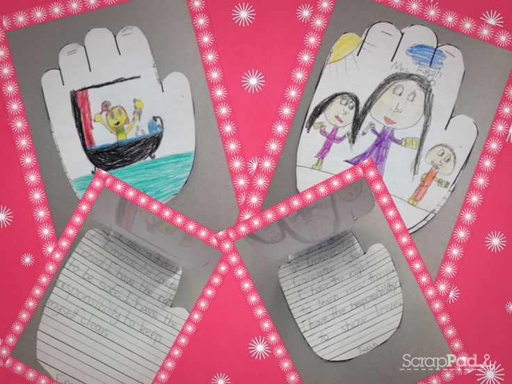 Students write what their roles, rights and responsibilities are at the school and at home. Then they draw a picture of themselves doing those roles, rights and responsibilities as the cover of the booklet.