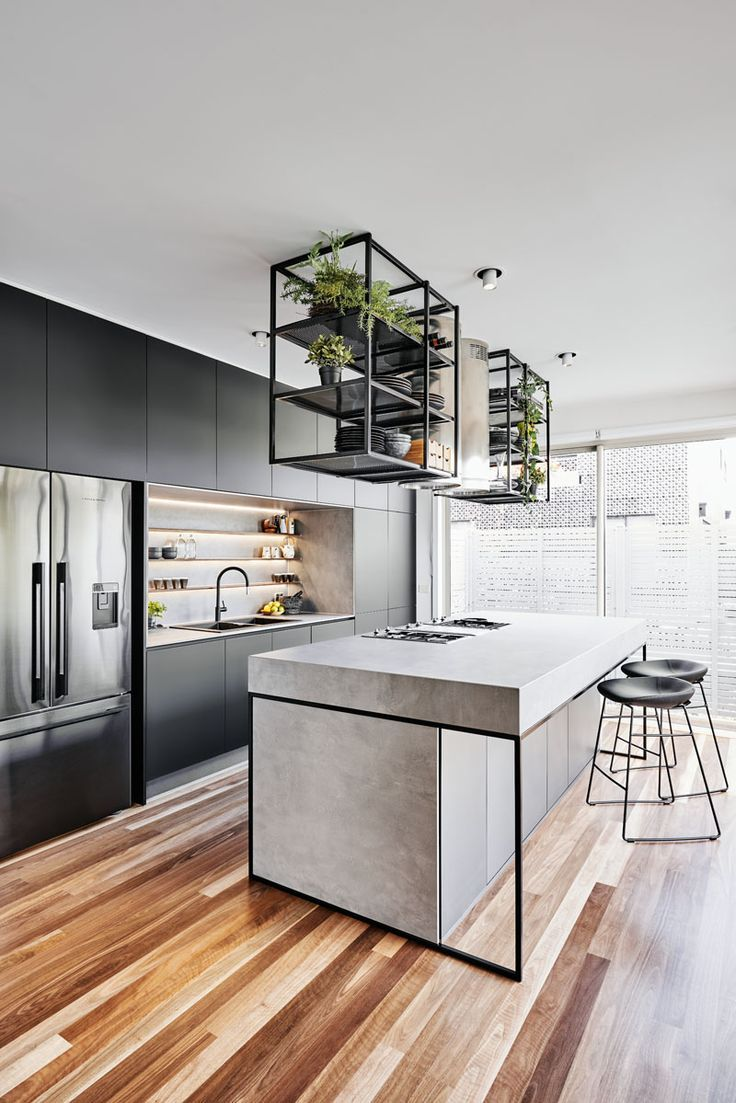 A Modern Industrial Look Was Created For This Townhouse Interior Design Kitchen Kitchen Remodel Kitchen Design