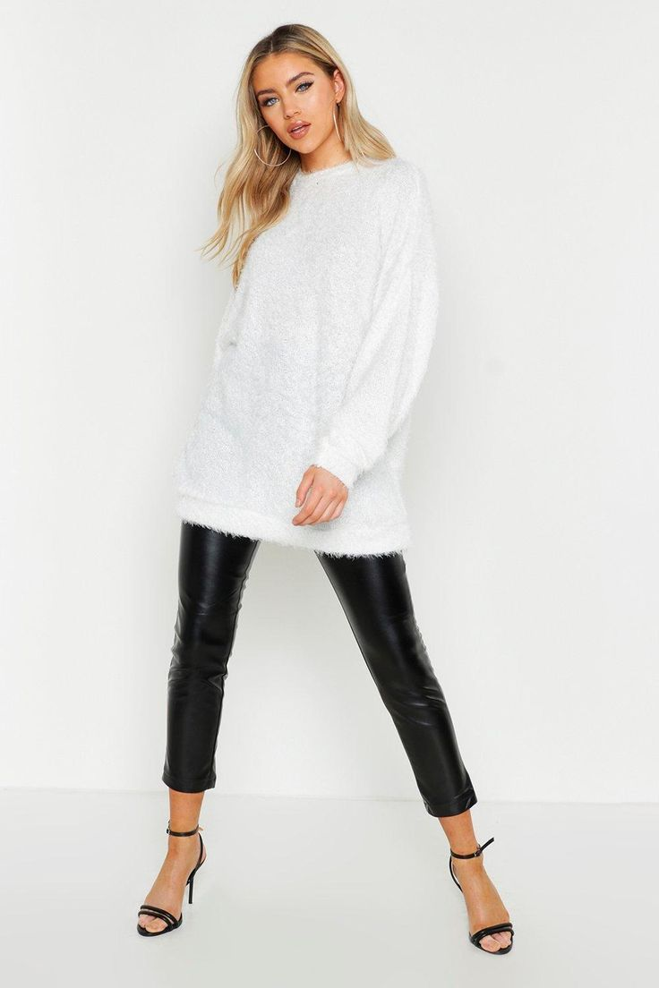 Oversized Fluffy Knit Boyfriend Sweater | Boohoo