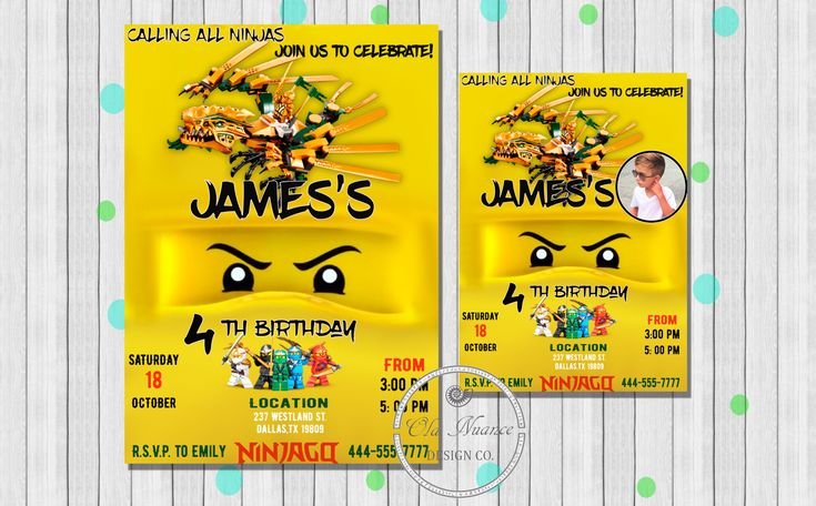 Lego Ninjago Invitation, Lego Ninjago Birthday Invitation, Lego Ninjago Party, Golden Ninja, Lego Ninjago Invite, Printable, Personalized by OlaNuanceDesign on Etsy