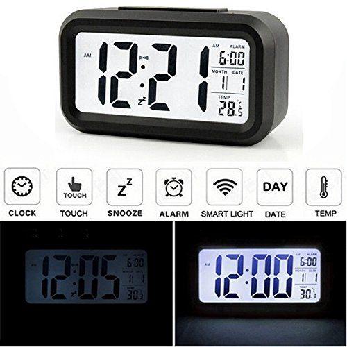 AUDEW LCD Wecker Digital Wecker Tischuhr Alarm Clock Kalender Thermometer f�r Auto Reise Hause B�ro Schwarz