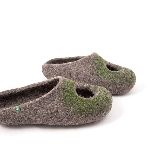 "Summer Felted Slippers for Women, Natural Gray Organic Wool, Cool Wool Slippers, ""Omicron"" by Wooppers, Comfy, Low Back Slip on House Shoes"