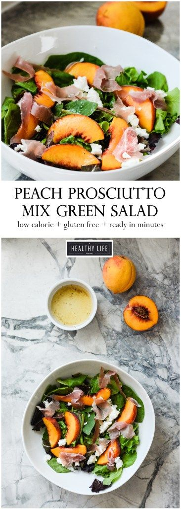 This Peach Prosciutto Mixed Green Salad is a light, sweet, and salty salad recipe.  This salad mixes summer ripe peaches, thinly sliced prosciutto with creamy goat cheese and topped with a lemon honey vinaigrette. - A Healthy Life For Me