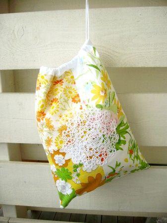 Oppbevaringspose - gul og oransje vintage