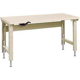 """Lyon Ergo W/ Pressed Wood Over Steel Top And Drawer, 60""""Wx28""""D Putty by LYON WORKSPACE PRODUCTS. $1532.00. Lyon Ergo w/ Pressed Wood Over Steel Top and Drawer, 60""""Wx28""""D Putty Manually operated hydraulic lift raises or lowers bench top to put work at the right height for different workers or tasks. Reduces fatigue, helps boost productivity. Set work heights at 29-1/4"""" to 43-3/4"""" with infinite hydraulic lift adjustments within a 6"""" range. 62.50 L. 40.00 W. 30.50 H."""