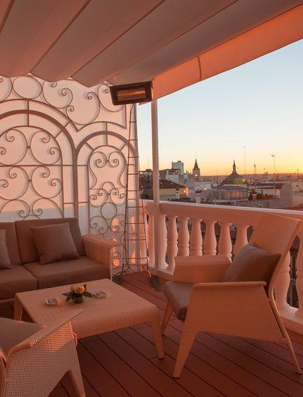 Hotel Wellington's dreamy balcony in Madrid, Spain