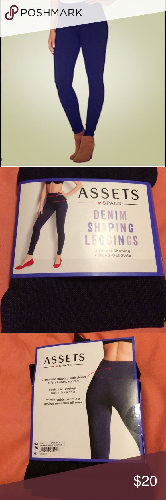 """Assets ❤ Spanx Denim shaping leggings Assets ❤ Spanx Denim shaping leggings. Dark indigo. Ultimate shaping with stand out style. Signature shaping waistband offers tummy control. Feels like leggings, looks like jeans. Comfortable, seamless design smoothes all over. Size medium (waist 31""""-33"""" hips 38""""-40.5"""") Size large (waist 33.5""""-35.5"""" hips 41""""-43"""") SPANX Intimates & Sleepwear Shapewear"""