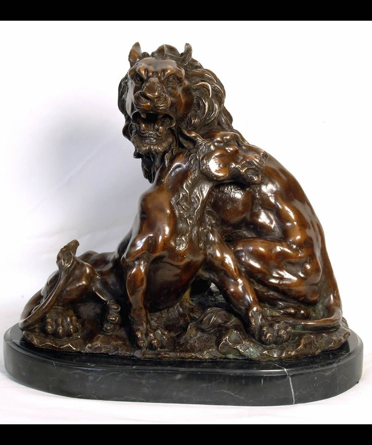 The Lion and Lioness Bronze Statue