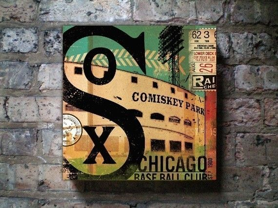 Chicago White Sox baseball club graphic art on canvas 12 x 12 by gemini studio.
