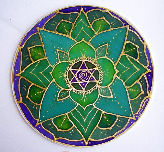 Heart Chakra Mandala  green lotus mandala art